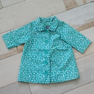 BabyGap Teal and White Coat sz 0-6 months